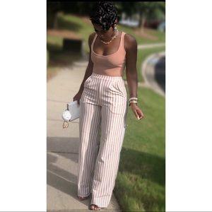 691e84bc643081 Pants - Shape White Striped Wide Leg Pants